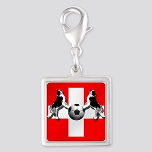 Swiss Football Flag Silver Square Charm