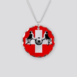 Swiss Football Flag Necklace Circle Charm