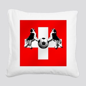 Swiss Football Flag Square Canvas Pillow