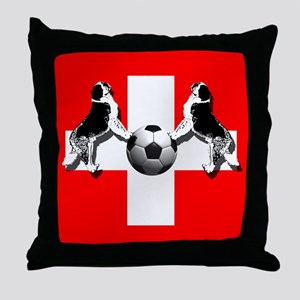 Swiss Football Flag Throw Pillow