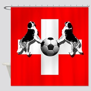 Swiss Football Flag Shower Curtain