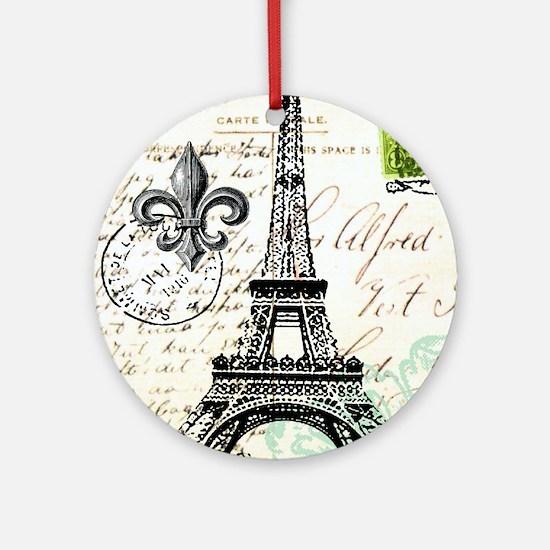 Vintage French Carte Postale Eiffel Tower Ornament