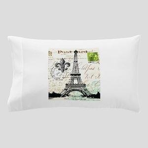 Vintage French Carte Postale Eiffel Tower Pillow C