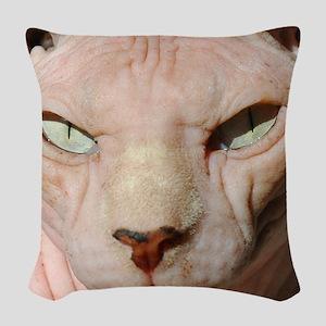 sphynx_eyes Woven Throw Pillow