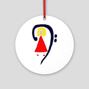 Blonde female blue bass clef red dress Ornament (R