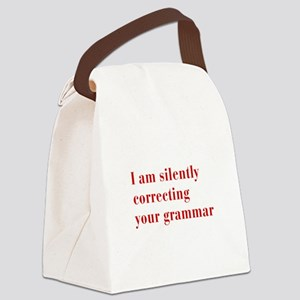 silently-correcting-bod-red Canvas Lunch Bag
