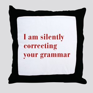 silently-correcting-bod-red Throw Pillow
