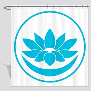 Buddhist Lotus Blue Shower Curtain