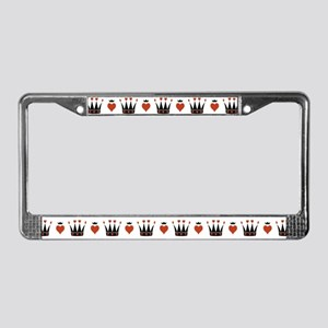Hearts And Crowns Motif License Plate Frame