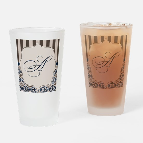 Gold and Navy Damask Monogram A Drinking Glass