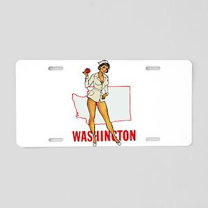 Washington Pinup Aluminum License Plate