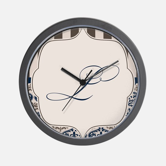 Gold and Navy Damask Monogram L Wall Clock