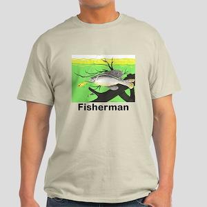 Fisherman Catching Fish mens Light T-Shirt