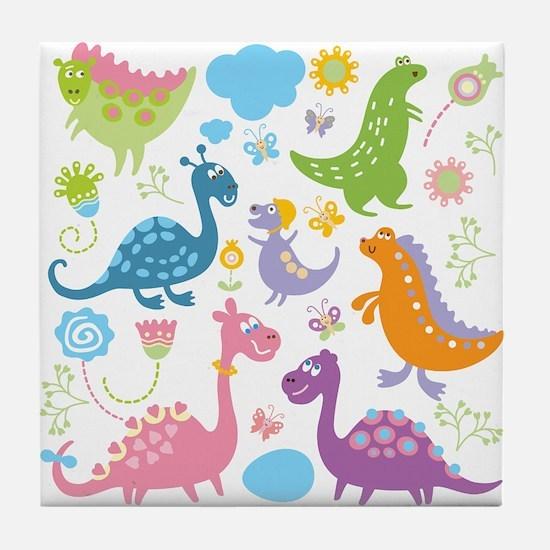 Cute Dinosaurs Tile Coaster