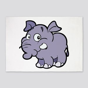 Purple Cartoon Elephant 5'x7'Area Rug