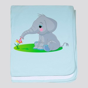 Baby Elephant with Flower baby blanket