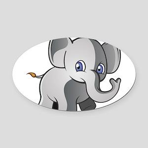 Baby Elephant 2 Oval Car Magnet