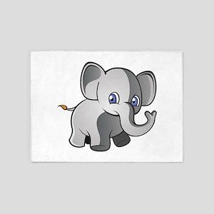 Baby Elephant 2 5'x7'Area Rug