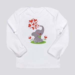 Elephant with Hearts Long Sleeve T-Shirt