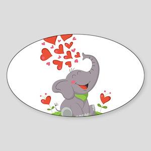 Elephant with Hearts Sticker