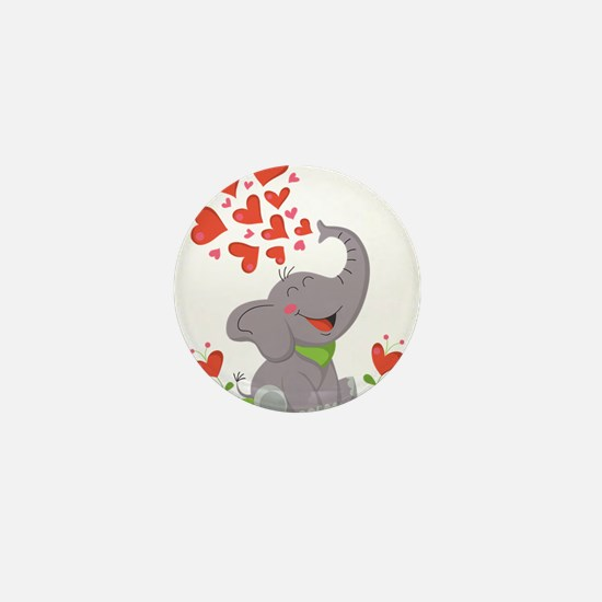 Elephant with Hearts Mini Button (100 pack)