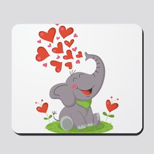Elephant with Hearts Mousepad