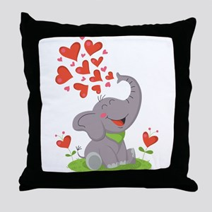 Elephant with Hearts Throw Pillow