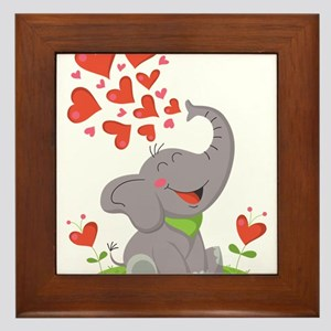 Elephant with Hearts Framed Tile