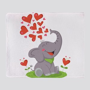 Elephant with Hearts Throw Blanket