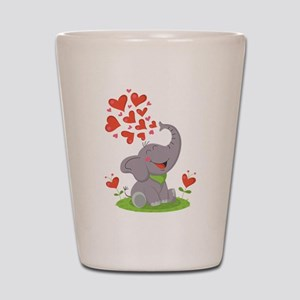 Elephant with Hearts Shot Glass