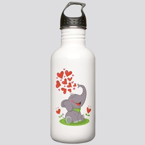 Elephant with Hearts Water Bottle