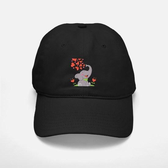Elephant with Hearts Baseball Hat