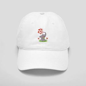 Elephant with Hearts Baseball Cap