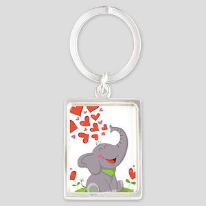Elephant with Hearts Keychains