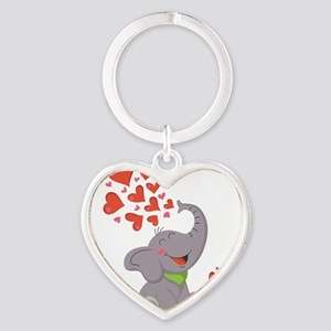 Elephant with Hearts Keychains