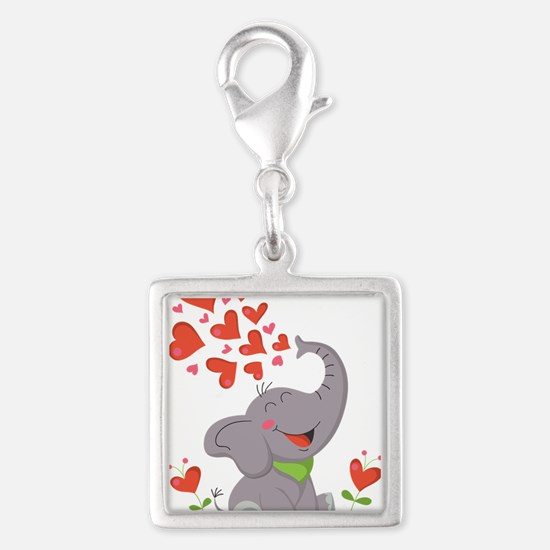 Elephant with Hearts Charms