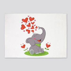 Elephant with Hearts 5'x7'Area Rug