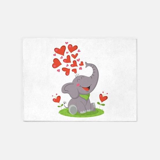 Elephant with Hearts 5'x7'Area Rug