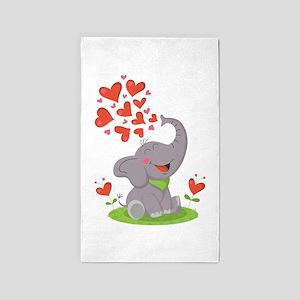 Elephant with Hearts 3'x5' Area Rug