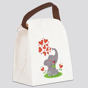 Elephant with Hearts Canvas Lunch Bag