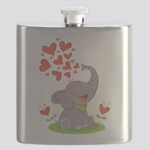 Elephant with Hearts Flask