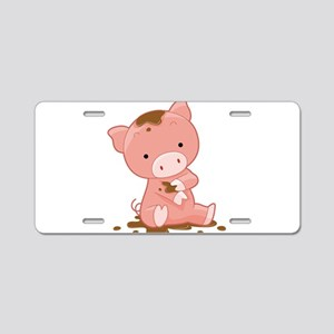 Pig in Mud Aluminum License Plate