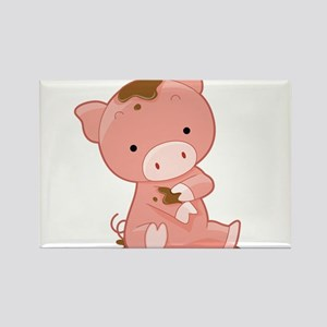 Pig in Mud Rectangle Magnet