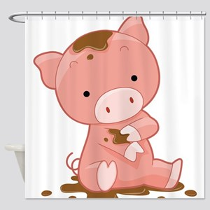 Pig in Mud Shower Curtain