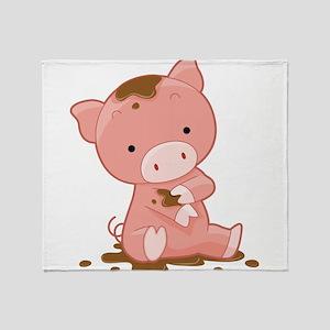 Pig in Mud Throw Blanket