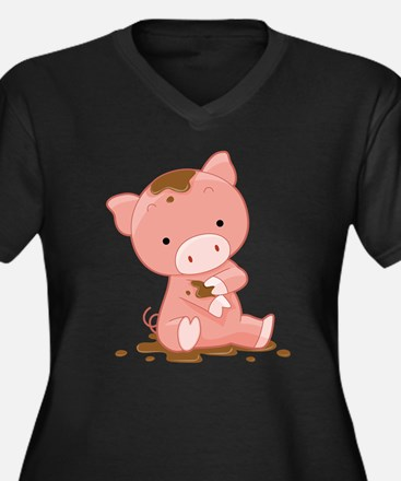 Pig in Mud Plus Size T-Shirt