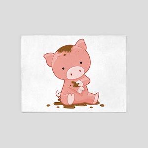 Pig in Mud 5'x7'Area Rug