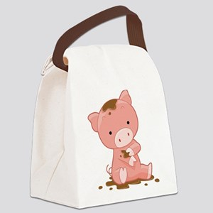 Pig in Mud Canvas Lunch Bag
