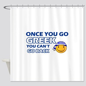 Greek smiley designs Shower Curtain