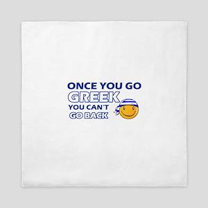 Greek smiley designs Queen Duvet